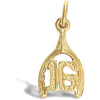 ジュエルコ ロンドン レディース ソリッド 9ct イエローゴールド 16 バースデーウィッシュボーン チャーム ペンダント