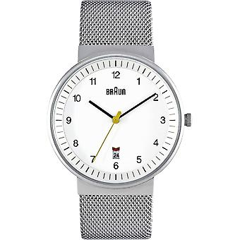 Braun classic gent Japanese Quartz Analog Man Watch with BN0032WHSLMHG Stainless Steel Bracelet