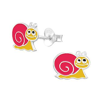 Snail - 925 Sterling Silver Colourful Ear Studs - W14151x