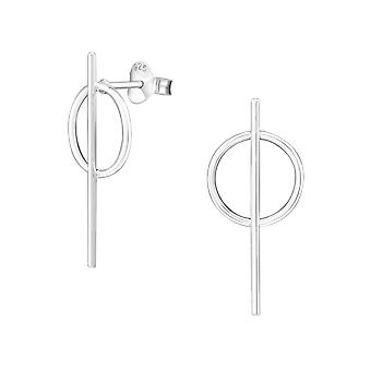 Geomatric - 925 Sterling Silver Plain Ear Studs - W34360x