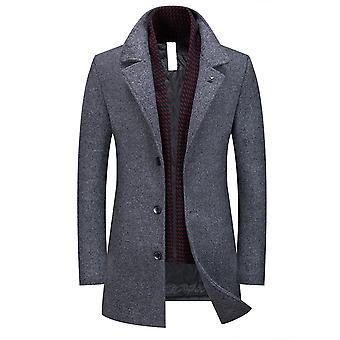 Allthemen mænd ' s tyk varm vinter forretning casual uld Blend overfrakke & tørklæde