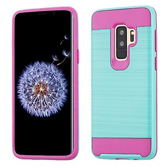 ASMYNA Teal Green/Hot Pink Brushed Hybrid Case for Galaxy S9 Plus