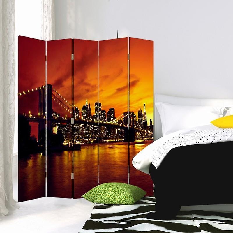 Diviseur de chambre, 5 panneaux, toile, pont de Brooklyn et Manhattan au coucher du soleil