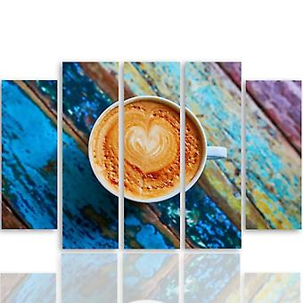 Five Part Picture On Canvas, Pentaptych, Type B, 2 Coffee