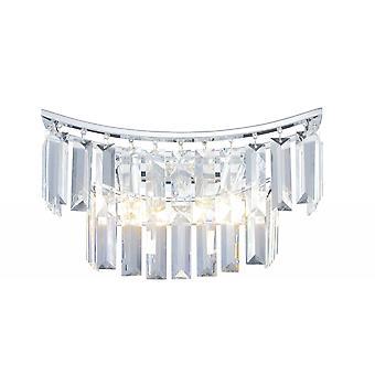 Diyas Gianni Wall Lamp 2 Light Polished Chrome/Crystal