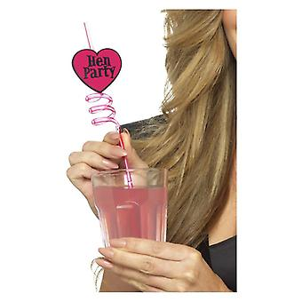 Hen Party Drinking Straws, Pink, 6 Pack Fancy Dress Accessory