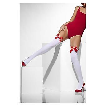 Womens White autoreggenti opache con fiocchi rossi costume accessorio