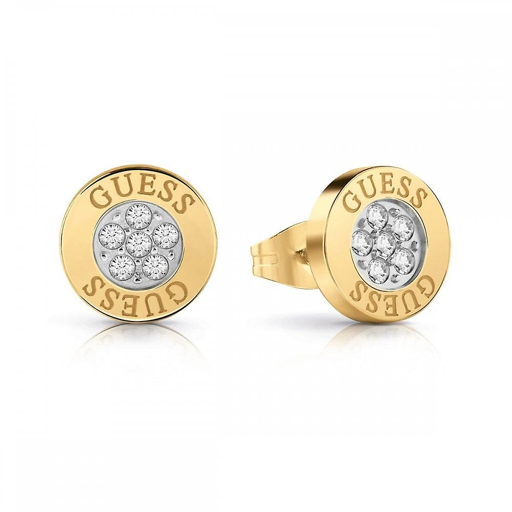 Guess Jewellery Guess Button Logo Gold Crystal Studs UBE78023