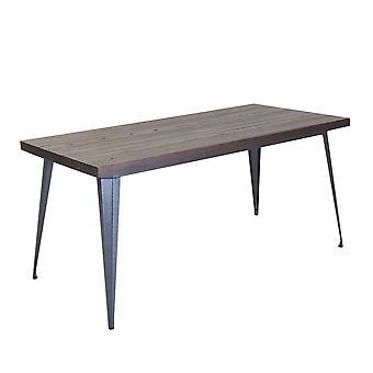 Charles Bentley Salvage Stål Indendørs / Udendørs spisebord med Elm Wood Top Gunmetal Grey