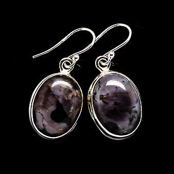 Gabbro Stone, Amethyst Earrings 1 1/4