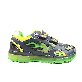 Geox Android J9444C Navy/Lime Boys Rip Tape Light Up Trainers