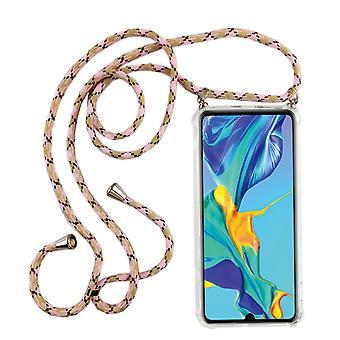 Telefoon keten voor Huawei P30 Lite-smartphone ketting geval met lint-snoer met geval te hangen in roze