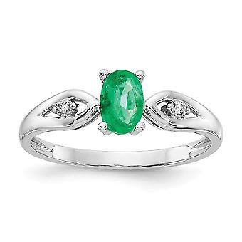 14k White Gold Oval Polished Prong set Open back Emerald Diamond Ring - .01 dwt .45 cwt