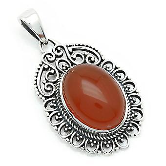 Pingente carneliano 925 sterling prata corrente pingente medalhão laranja vermelho (144-16)