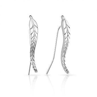 Silver leaf climber earrings