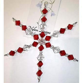 Handmade hanging Snowflake decoration in Red by Nyleve Designs