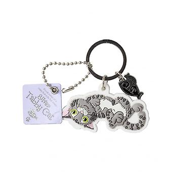 Wags & Whiskers Keyring - Silver Tabby Cat (crazy)