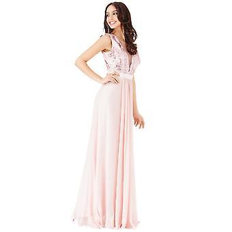Goddiva Sequin V-Necked Sleeveless Chiffon Maxi Dress