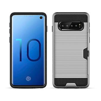 Para Samsung Galaxy S10+ PLUS Case, Silver Brushed Texture PC+TPU Armour Back Case