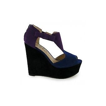 Rio T Bar Platform Wedge Shoes In Purple