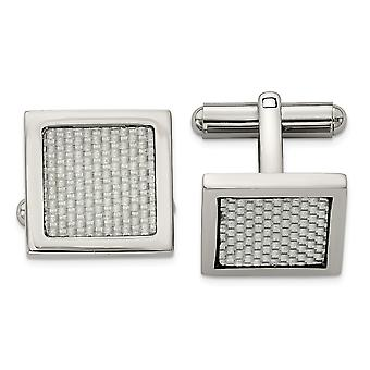 Stainless Steel Grey Carbon Fiber Cuff Links Jewelry Gifts for Men
