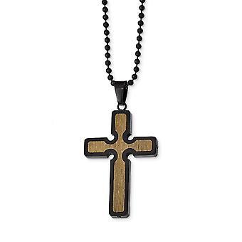 Edelstahl schwarz Ip mit Holz Inlay religiöse Glauben Kreuz Halskette 24 Zoll Schmuck Geschenke für Frauen