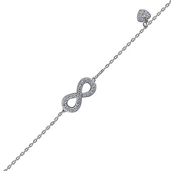 925 Sterling Argent CZ Cubic Zirconia Simulated Diamond Infinity Love Heart Charm 1.65gm Womens Bracelet Jewelry Gifts f