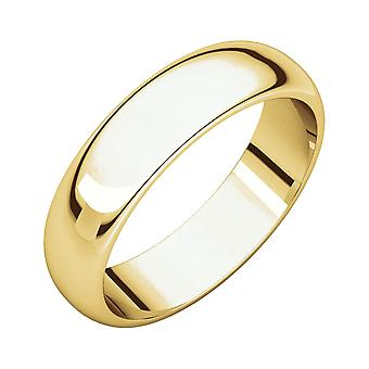 14k Yellow Gold 5mm Half Round Band Ring Jewelry Gifts for Women - Ring Size: 4 to 13