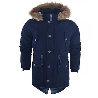 Island Trading Mens Heavy Weight High Quality Cotton Parka Winter Coat Fur Fishtail Long Jacket