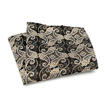 Copper bronze & gold paisley pattern pocket square
