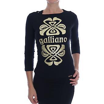 John Galliano Black 3/4 Sleeve Cotton Stretch Top
