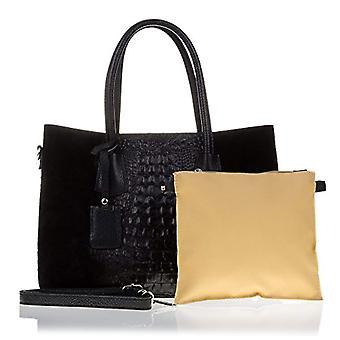 Florence Artegiani Bolso Tote De Mujer Piel Authentic Grabado Cocodrilo Lacado Messenger Bag 34 cm Black (Negro)