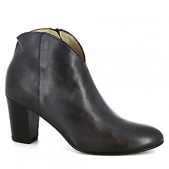 Leonardo Shoes Women's handmade heels ankle boots dark blue leather side zip