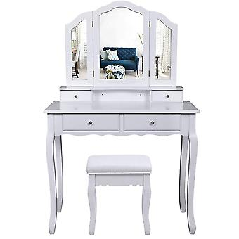 White dressing table with 3-piece mirror and stool