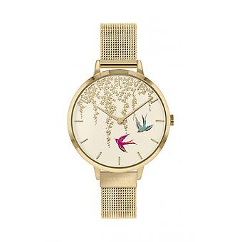 Sara Miller SA4042 Women's Swallow Gold Tone Mesh Strap Wristwatch