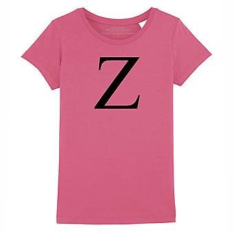 STUFF4 Girl's Round Neck T-Shirt/Alphabet Letter Initial Z/Dark Pink