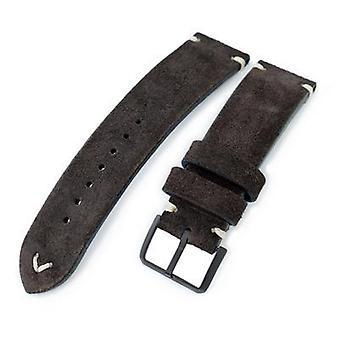 Strapcode leather watch strap 20mm, 21mm, 22mm miltat dark brown genuine nubuck leather watch strap, beige stitching, pvd buckle