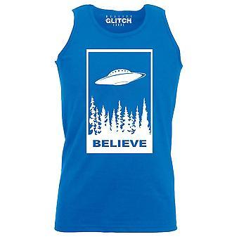Reality glitch believe in ufos mens vest