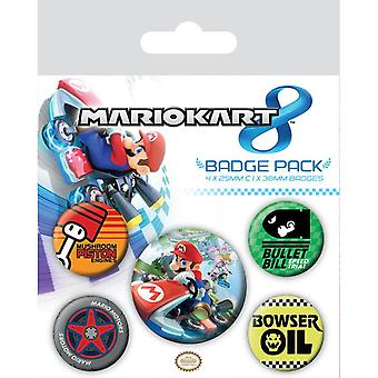 Mario Kart 8 Pin Button Badges Set