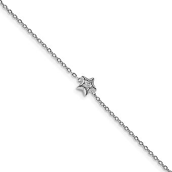 925 Sterling Silver Rhodium plated Bezel Set CZ Cubic Zirconia Simulated Diamond With .5inch Ext. Bracelet 6.75 Inch Jew