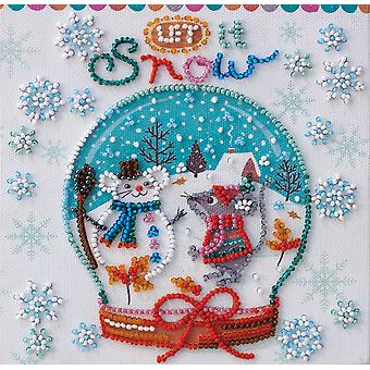 Abris Art Bead Embroidery Kit With Thread - Snowfall Let It Snow