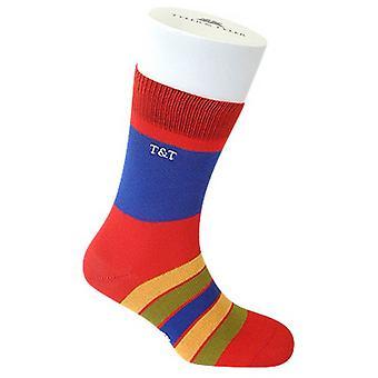 Tyler e Tyler Kaleidoscope meias - vermelho/azul/amarelo