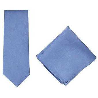 Michelsons of London Subtle Floral Silk Tie and Pocket Square Set - Light Blue