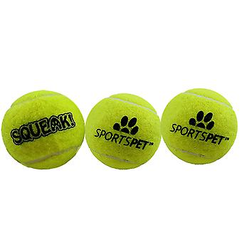 Sportspet Tennis Ball With Squeaker (Pack Of 3)