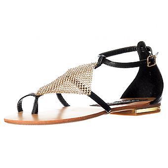 Onlineshoe Crystal Diamante förskönat Flat Flatform sandaler-Tan, svart