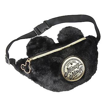 Mickey Mouse negro bolsa de cintura de felpa