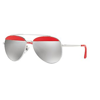 Alain Mikli Paon A04004 006/6G Pontille Red-Silver/Light Grey Silver Mirror Sunglasses