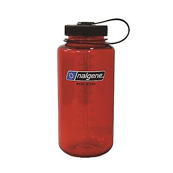 Nalgene Wide Mouth Tritan Bottle 1L Red with Black Closure - Red