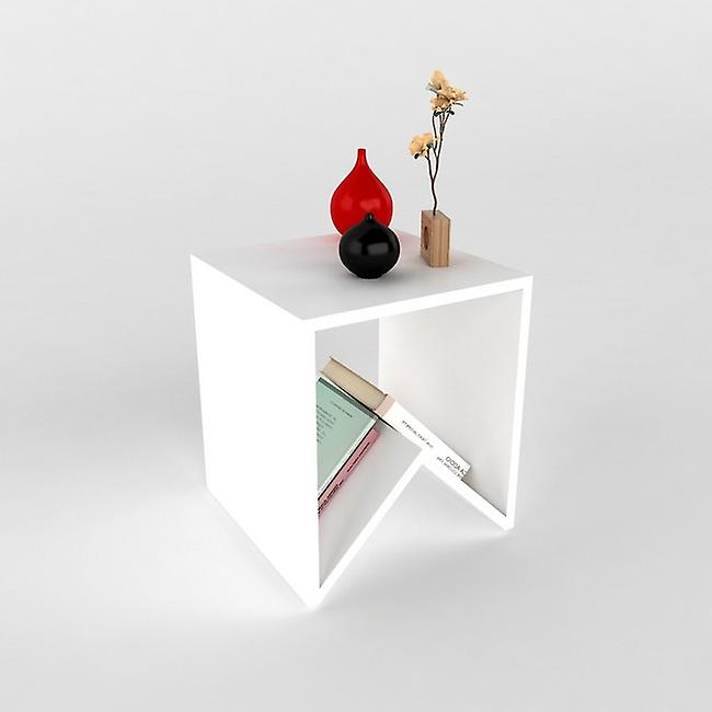 Table basse-apos; Keops White Color in Melaminic Chip 40x40x45 cm