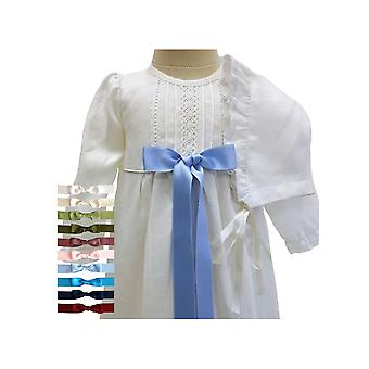Christening Gown In Off White Linen With Long Sleeves And Bonnet, 10 Whide Bows Tho Choose From